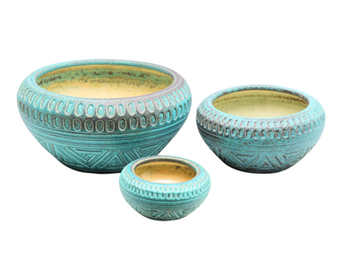 160280 Corroded Copper Belly bowl set of 3
