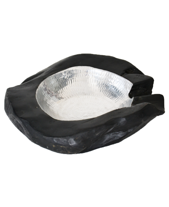 160311 Black Kagan bowl w/aluminum hamered cover
