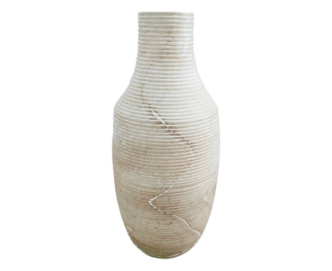 160357	White Marbled Bean Pod Vase