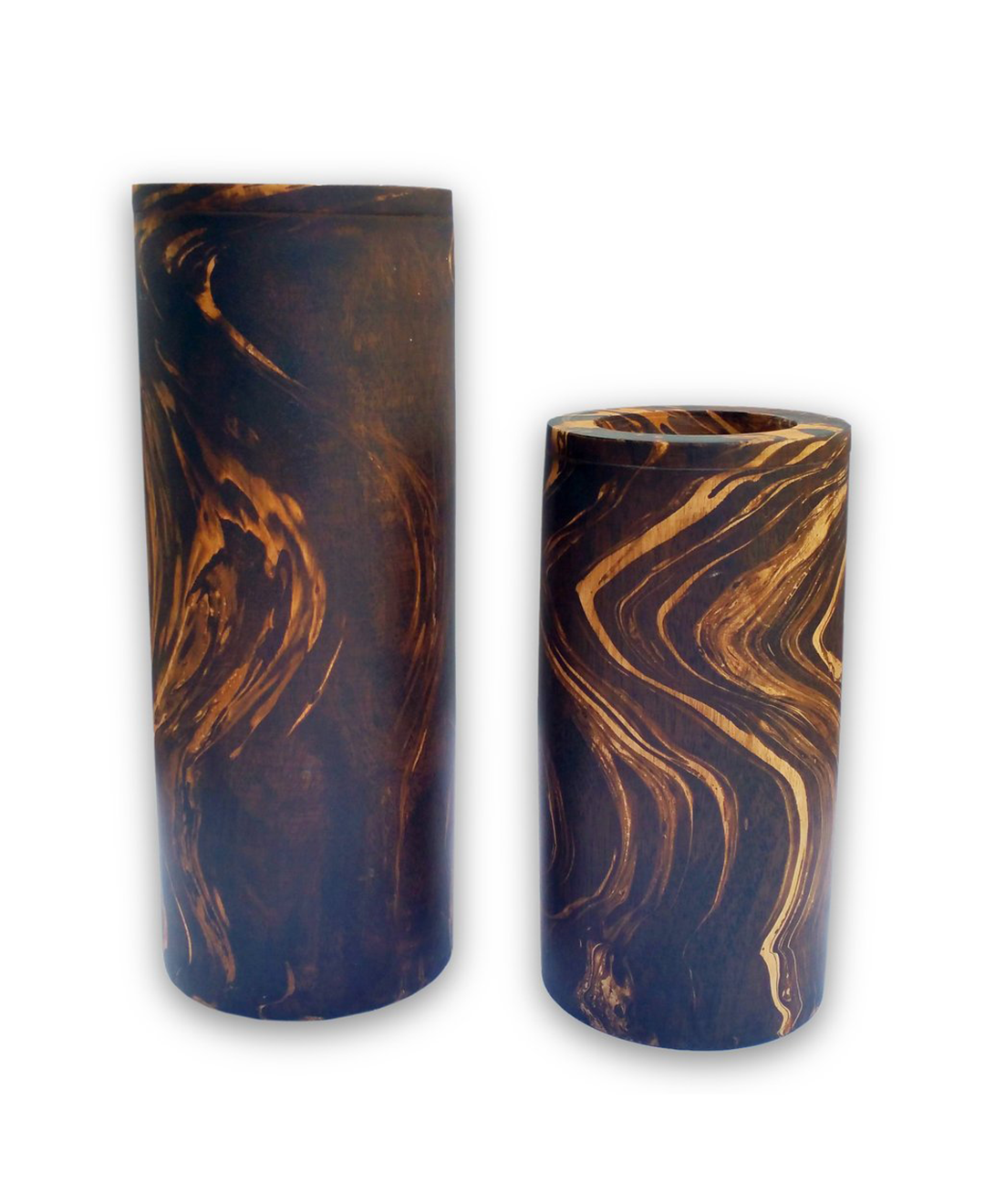 160391	Elle Black Marbled Candle Holder -LARGE