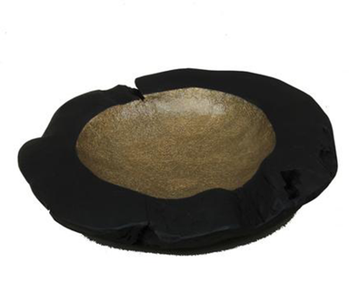 160393 Black & Gold Foil Teak Bowl