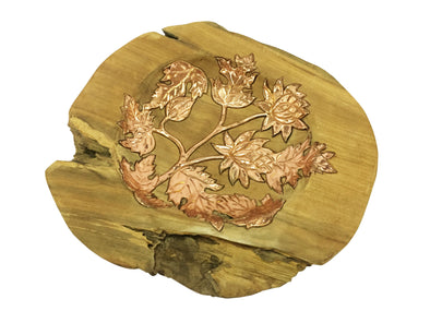 160417	Teak Bowl with Copper Lotus Ornament