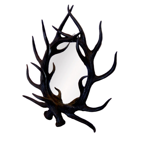 160998 Resin Stag Antler Mirror