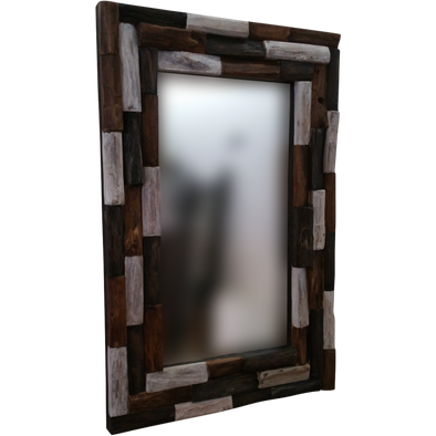 170061	Wood Fossil Mirror