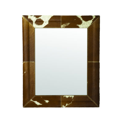 173010 Caramel Faux Pony Mirror- Cow Hide