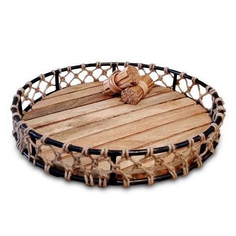 100260 Fishnet Tray w/ Mango wood bottom