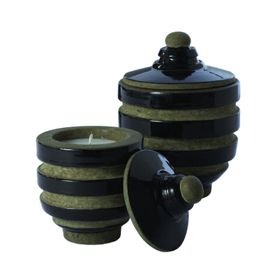 223036 Black Metro Candle Pot with a lid