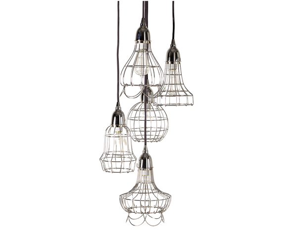 225039 Silver Wire Five Pendant Lamp