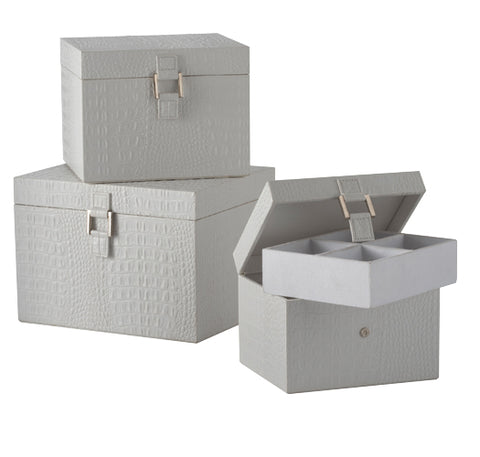 284020	S/3 Nested White Faux Crocco Boxes