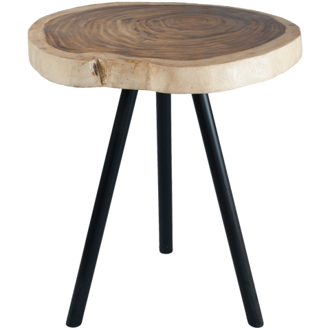 310070	Wood Chunk Table with metal leg