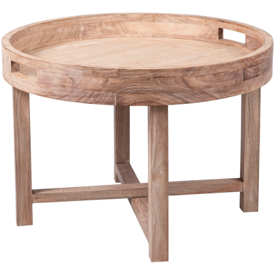 310076	Birani round table tray with folding leg , wood