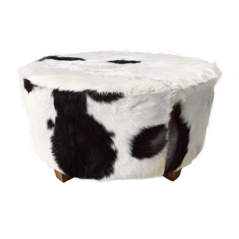321024	Marcus Oversized Hide Stool/ ottoman in Black /white