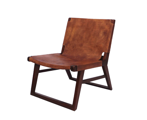 321051	Chelsea Tan Leather Chair with Teak Frame
