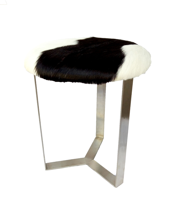 321052	Chesa Black & White Hide Stool with Stainless Steel Legs