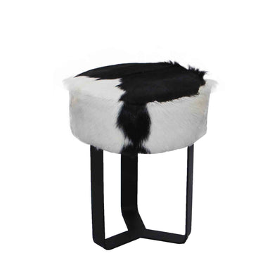 321055	Mario Black & White Hide Stool w/ Black Metal legs