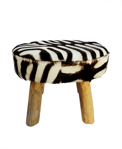 321067	Faux Zebra Stool/Ottoman with Wood legs