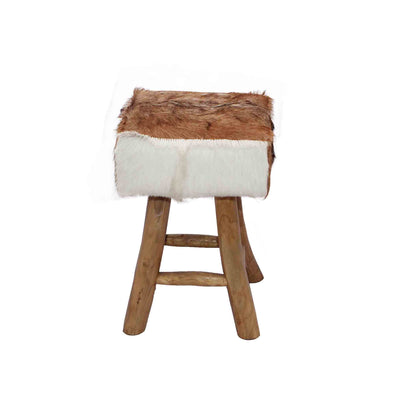 321252	Kert Stool - Teak Root legs/ Brown & White hide