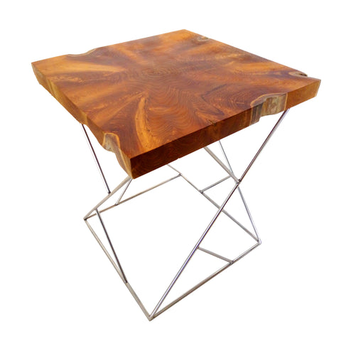 321262 Grey Wedge Side Table - Teak root & Stainless shaft Table