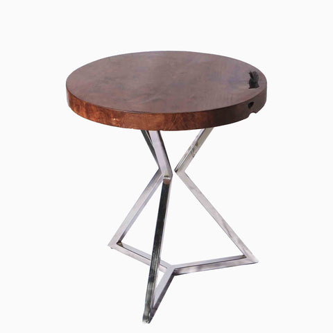 321266 Star Side Table - Teak wood & Stainless Steel side table