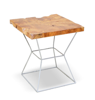 321268 Tariper Side Table - Suar wood & Stainless Shaft side table