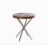 321276 Wave Suar Wood & Stainless Steel Side Table(IF044)
