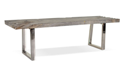 321279	Textured Bench - Suar Wood & Stainless Steel