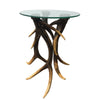 321812 Resin Elk Antler Occasional Table with Glass Top