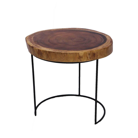 321303	Half Moon Table - Suar Wood Side Table with Metal Base