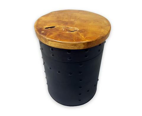 321313	Black Iron Drum Stool with a storage