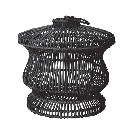 466040 Black Split Rattan Spoke Jug