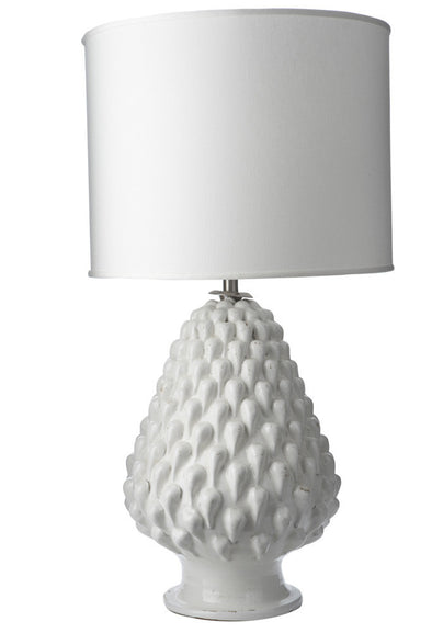 749047 Aged White Magnolia  Lamp w/ white shade