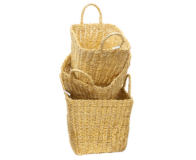 784018-G Set of 3 GOLD Recycled Twisted Foil Baskets