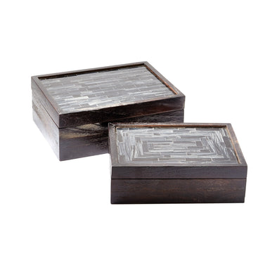 784074 S/2 Rectangular Mosaic Boxes