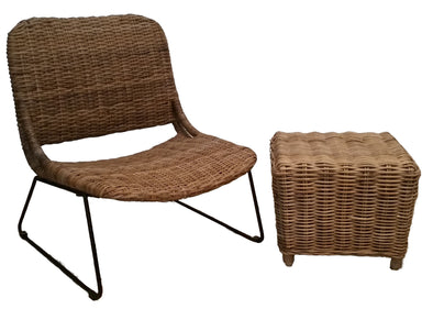 310160	Set of two, Grey Rattan Chair & side table