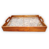 160415-md Teak Tray with Glass - MEDIUM