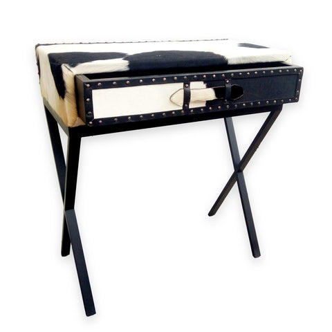 321056	Maxine Cowhide Console W/ Metal Legs - 1 Drawer
