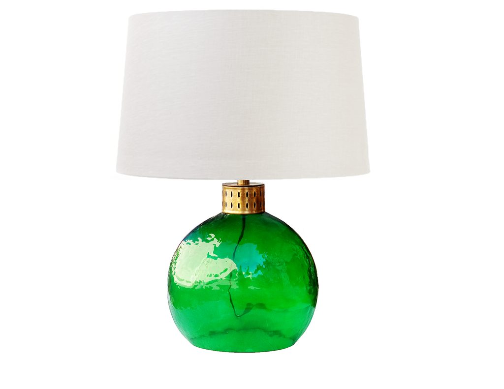 110604	Green & brass lamp Oval