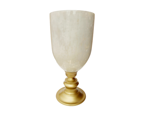 400090	Brass hurricane with Mercury glass globe