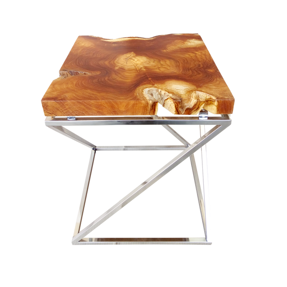 321263N	Greyson with natural top side table - Suar Wood & Stainless Table