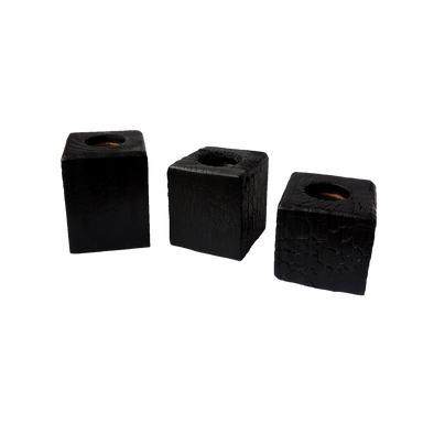 Set of 3 Charred Tea Light Holder