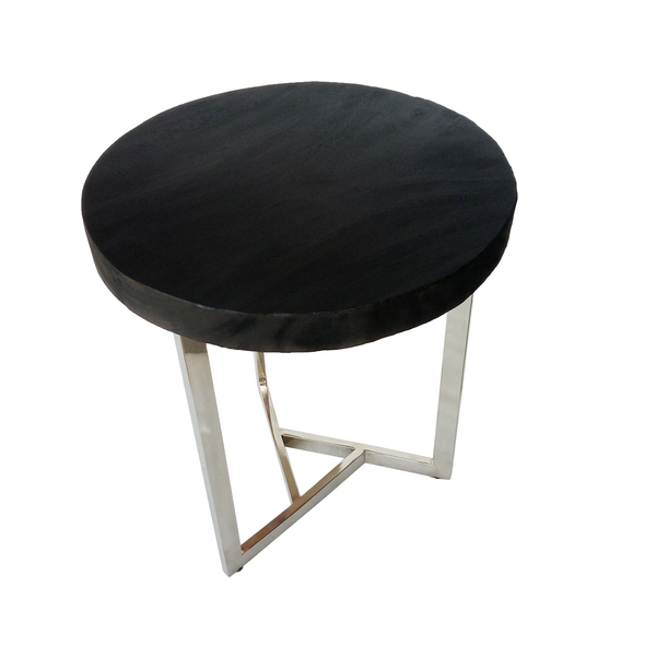 321269C Charred Black Suarwood & Stainless Steel Side Table