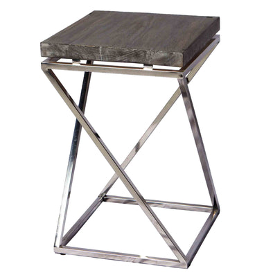 321263	Greyson side table - Suar Wood & Stainless Table