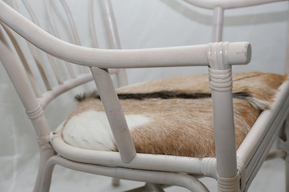 310055 Goat Hide Chair - Aged White