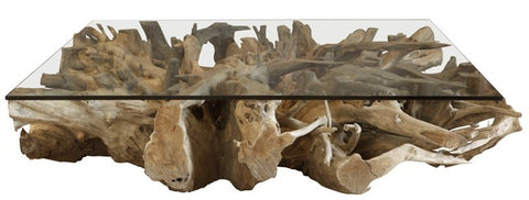 321045 Shikaku Teak Root Square Coffee Table WITHOUT Glass