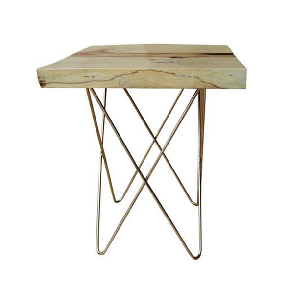 321267 Jux Side Table - Tamarine Timber & Stainless Shaft Side Table