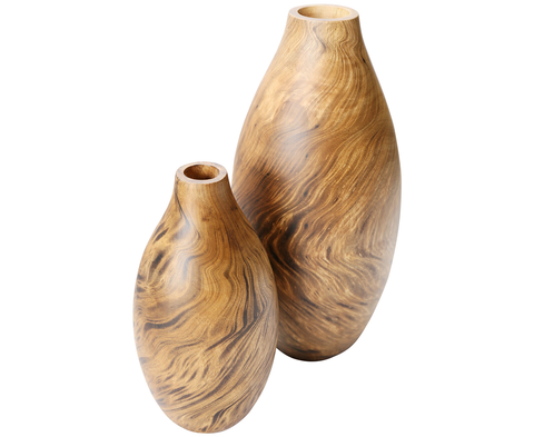 S160380 S/2 Tortoise Wood Vase - small & large
