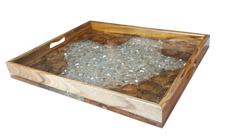 100313	Gold Teak & Resin Tray w/ Glass