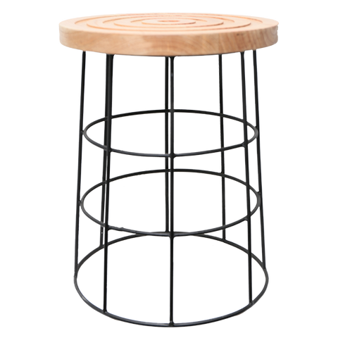 310092	 Swilla Stool, wood , metal leg Black