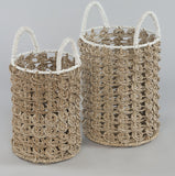 160243	Set of 2 Neptune basket w/handles , seagrass