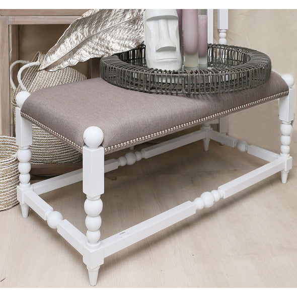 926003- White Julianne Bench with Gun Metal Fabric